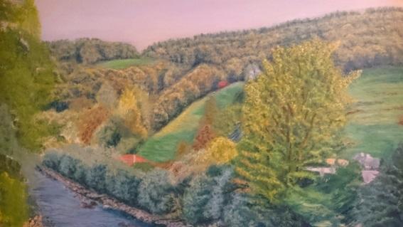 Farben, Fluss, Wald, Malerei, Morgen, Herbst