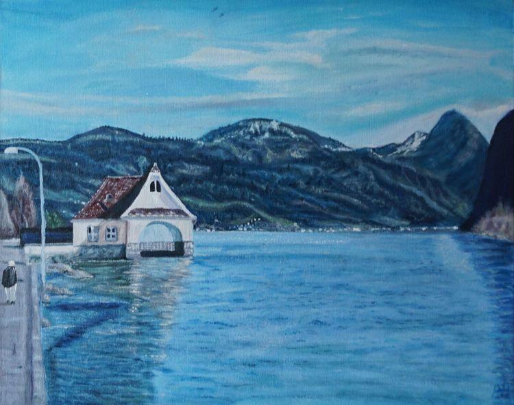 Wasser, Magie, Berge, Malerei, Häuschen