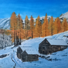 Hütte, Wald, Landschaft, Malerei