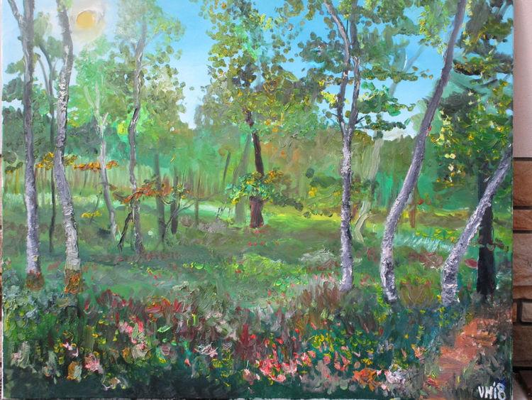 Blätter, Birken, Malerei,