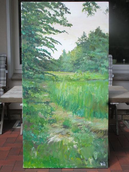 Wiese, Baum, Himmel, Malerei