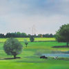 Kuh, Baum, Windmühle, Malerei