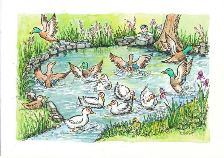 Junge, Teich, Ente, Baum, Illustrationen