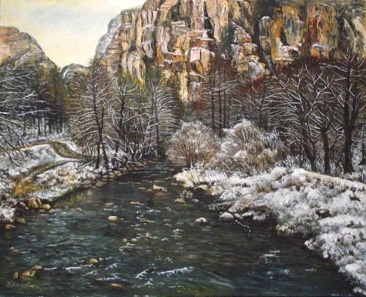 Serbien, Gebirgslandschaft, Ölmalerei, Malerei
