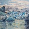 Island, Weiß, Eisberg, Wolken