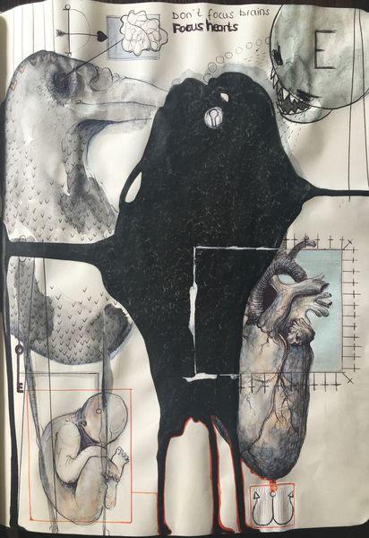 Anatomie, Energie, Schatten, Skizze, Kugelschreiber, Zeit