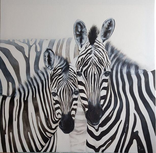 Paar, Zebra, Schwarz weiß, Malerei, Tiere
