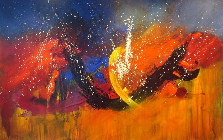 Malerei, Abstrakt, Mischtechnik, Eruption