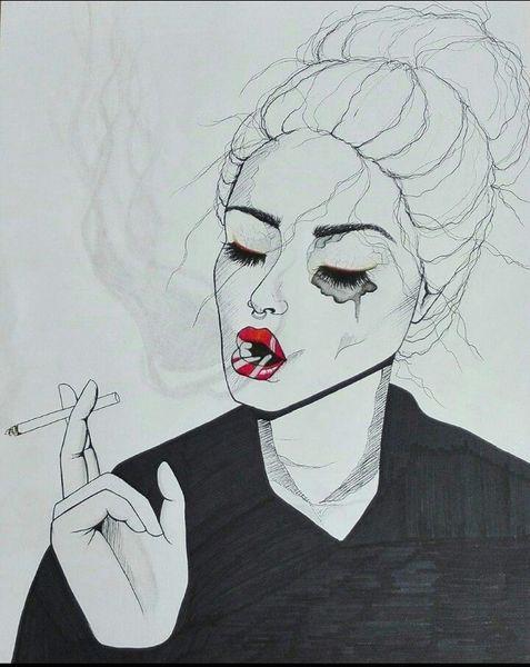 Zigarette, Portrait, Schwarz, Frau, Haare, Zeichnung