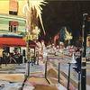 Bistro, Nacht, Straße, Malerei