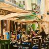 Cafe, Menschen, Sonnenschirme, Gelb