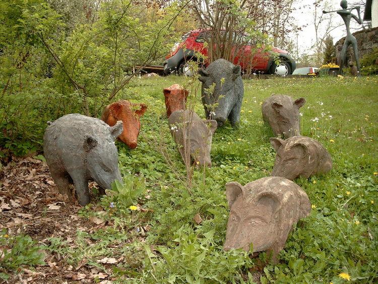Wildschwein, Figur, Gartenfiguren, Familie, Tiere, Skulptur