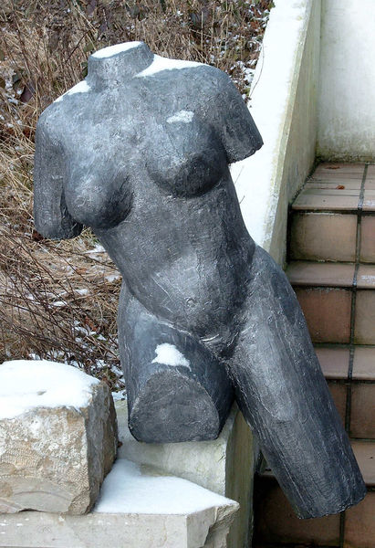 Frau, Anthrazit, Figur, Skulptur, Gartenfigur, Beton
