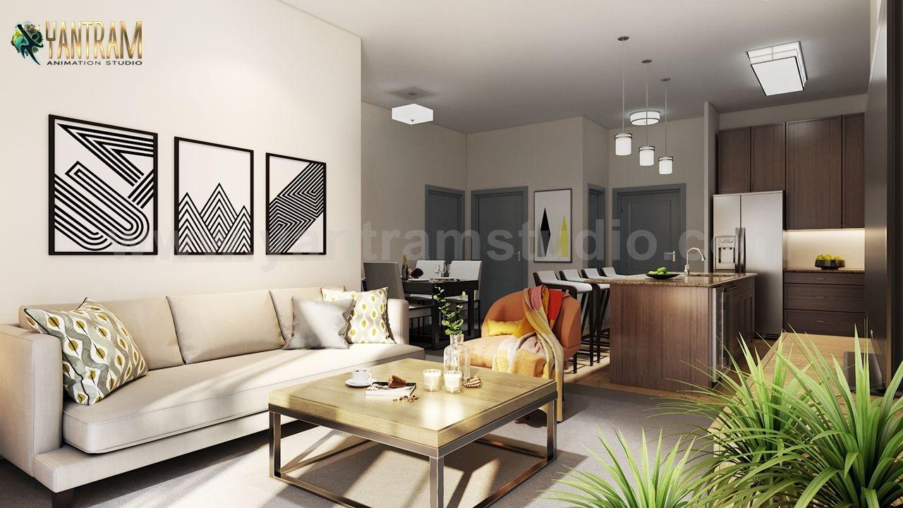 Moderne Küche Wohnzimmer Combo & Dekoratives Badezimmer