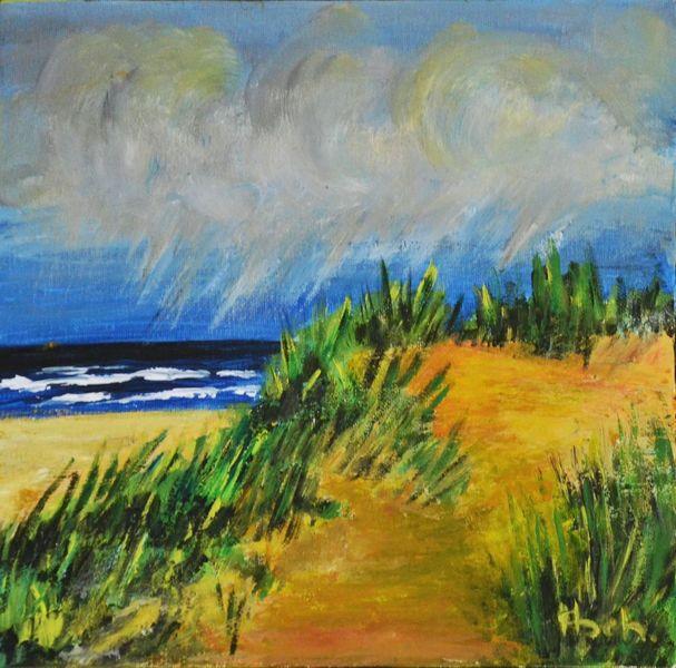Meer, Gras, Wolken, Strand, Regen, Dünen