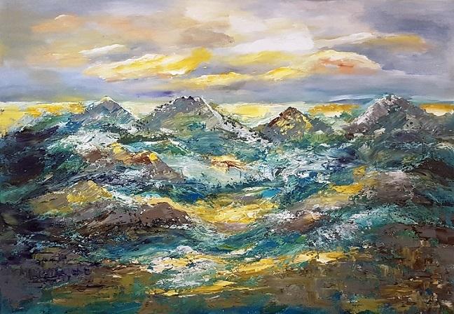 Zeitgenössische malerei, Landschaft, Acrylmalerei, Spachteltechnik, Abstrakte malerei, Gemälde abstrakt