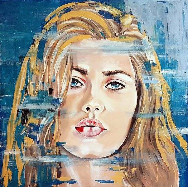 Acrylmalerei, Porträtmalerei, Gesicht, Malerei, Zeitgenössische malerei, Frau