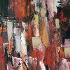 Moderne malerei, Rot, Gold, Abstrakte kunst