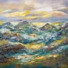Zeitgenössische malerei, Landschaft, Abstrakte malerei, Gemälde abstrakt