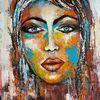 Frau, Acrylmalerei, Gemälde, Zeitgenössische kunst