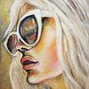 Porträtmalerei, Moderne kunst, Acrylmalerei, Frau