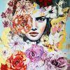 Moderne malerei, Expressive malerei, Gesicht, Blumen