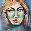 Moderne kunst, Acrylmalerei, Frau, Malerei