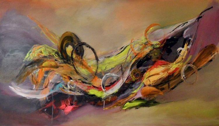 Abstrakte kunst, Gelb, Moderne kunst, Lila, Abstrakte malerei, Moderne malerei
