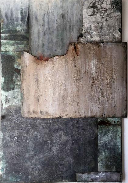 Tuschmalerei, Marmormehl, Mischtechnik, Acrylmalerei, Abstrakt, Blau