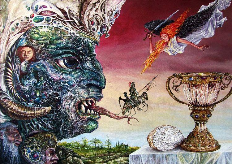 Fantasie, Surreal, Gemälde, Figural, Mystik, Otto rapp