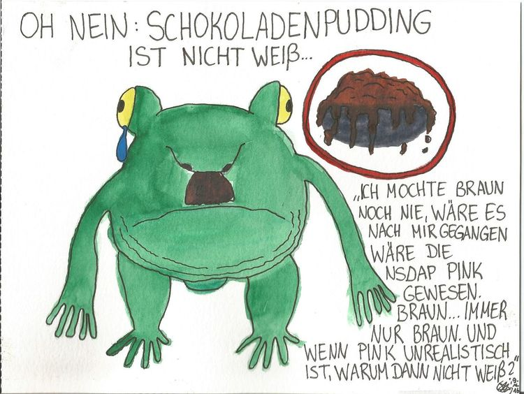 Hitler, Frosch, Pudding, Kröte, Philosophie, Aquarell