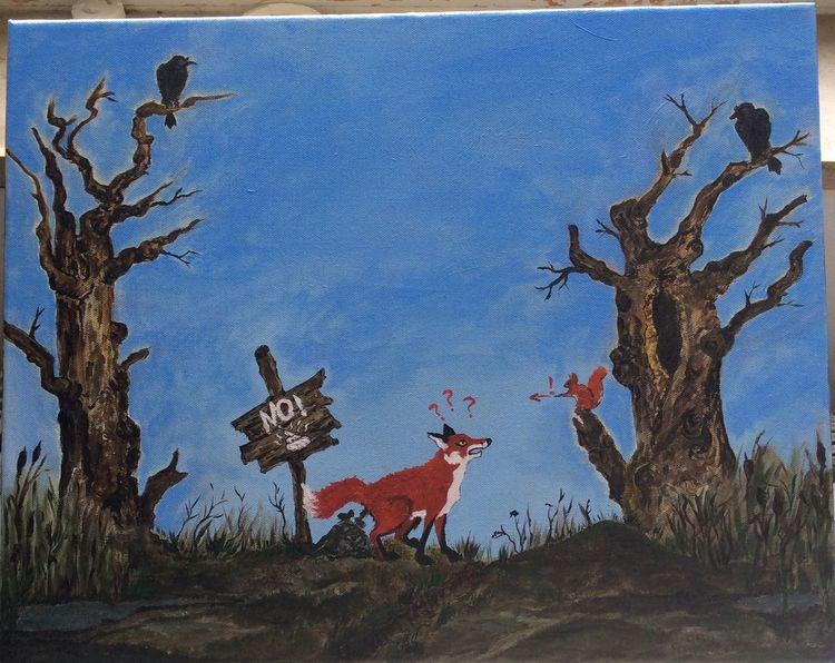 Fuchs, Alte bäume, Noch nicht fertig, Acrylmalerei, Kahl, Eichhörnchen