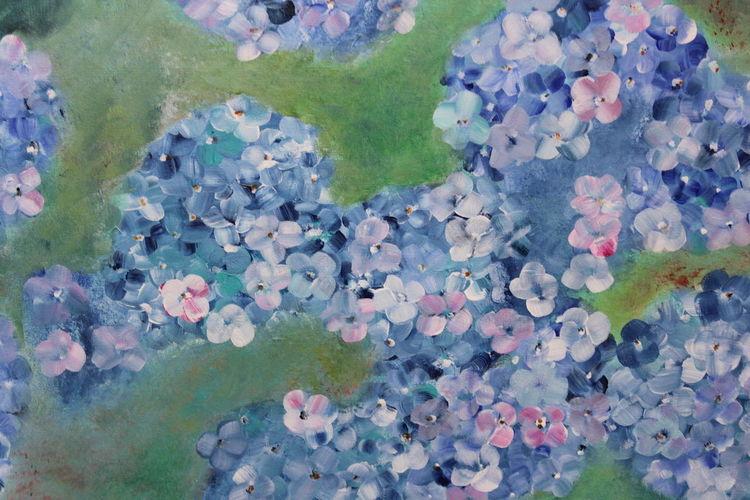 Hortensien, Blüte, Blau, Blumen, Grün, Moderne malerei