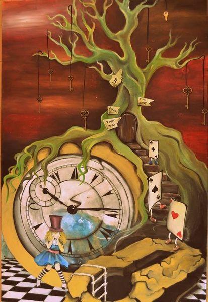 Baum, Spielkarten, Mädchen mit hut, Mystik, Uhr, Bunt