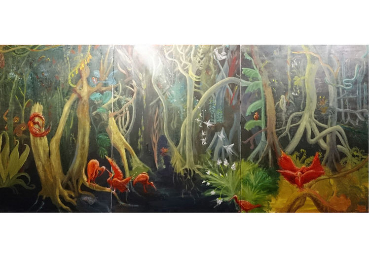 Schatten, Grün, Urwald, Ibis, Triptychon, Baum