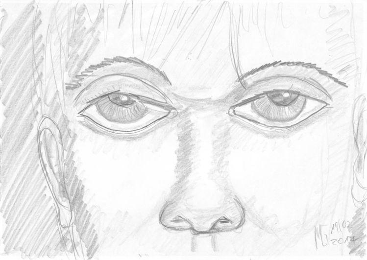 Augen, Blick, Gesicht, Augenblick, Bleistiftzeichnung, Sehnsucht