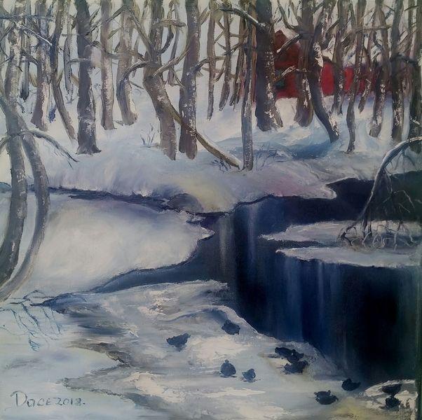 Ente, Winter, Schnee, Fluss, Eis, Baum