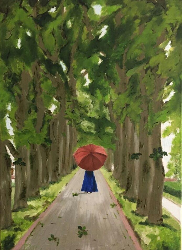 Spaziergang Schirm Frau Allee Spaziergang Von Oelblume Bei Kunstnet