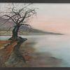 Baum, Grau, Nebel, Malerei