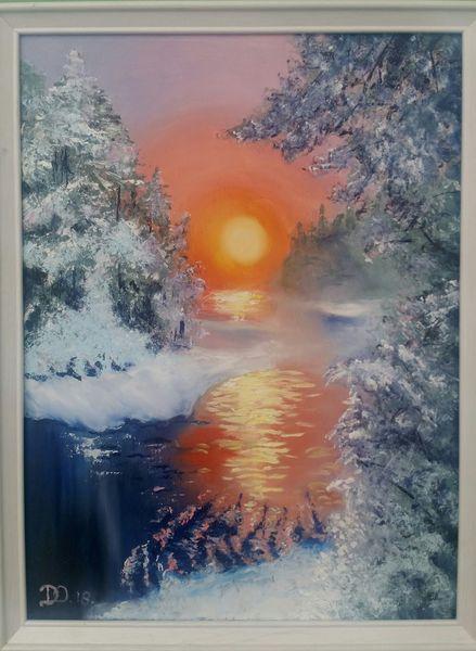 Tanne, Sonnenuntergang, Schnee, Fluss, Winter, Malerei
