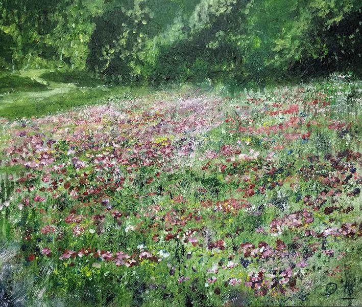 Feld, Frühling, Landschaft, Blumen, Acrylmalerei, Wiese