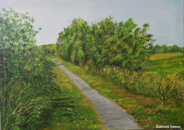 Landschaft, Fahrrad tour fietzpad, Fahrradweg, Malerei, Fahrrad, Tour