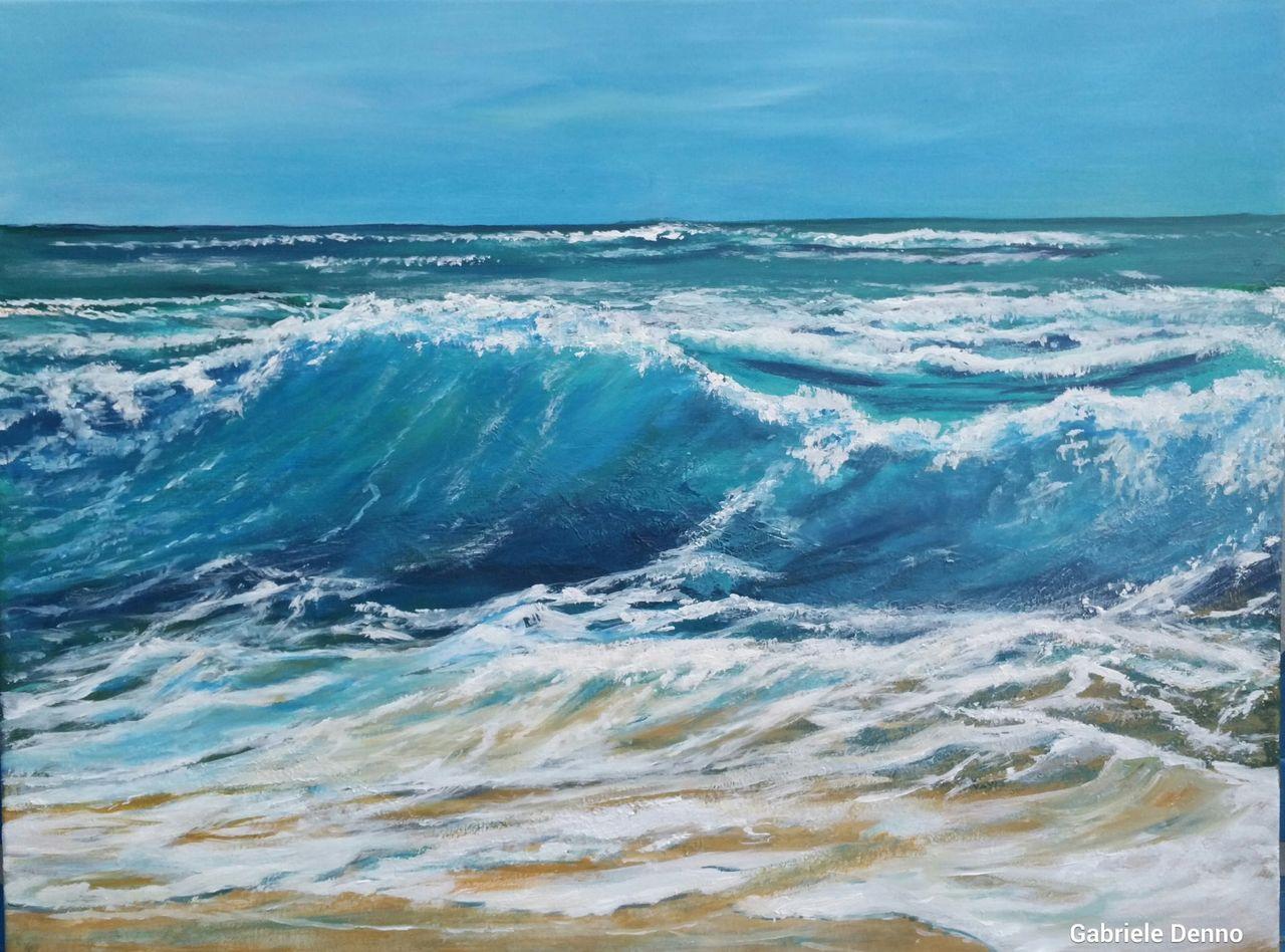 das meer wellen blue  strand meer welle malerei von