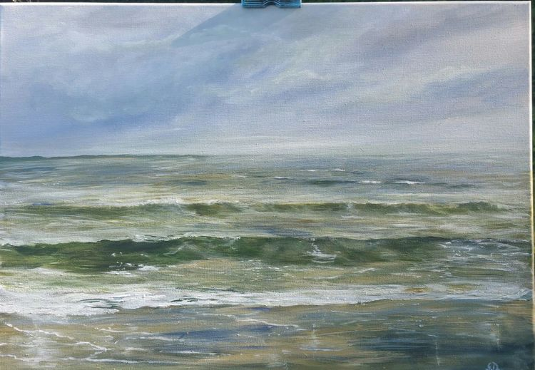 Malen, Nordsee, Strand, Gewitter, Meer, Gemälde