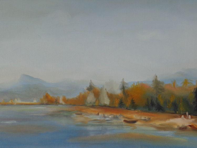 Landschaft im jura, Ölmalerei, See, Berge, Baum, Malerei