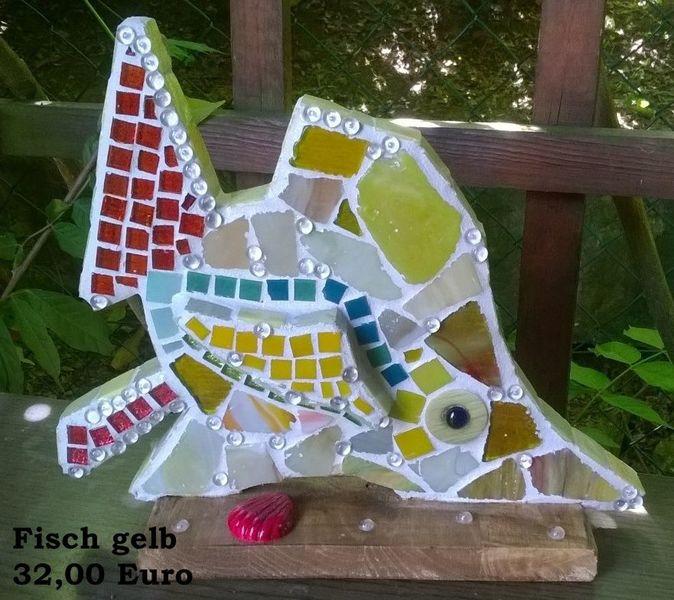 Fisch, Mosaiksteine, Holz, Kunsthandwerk