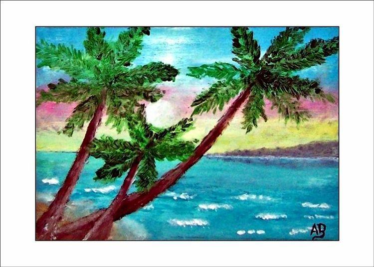 Küste, Wiese, Strand, Landschaft, Malerei, Gemälde