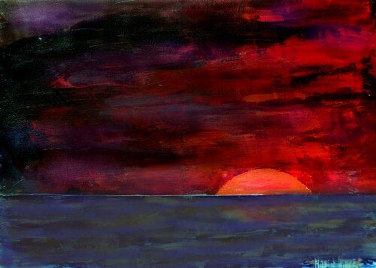 See, Sonnenuntergang, Malerei, Horizont