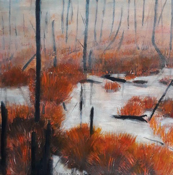Herbst, Moor, Moorlandschaft, Herbstliches moor, Malerei