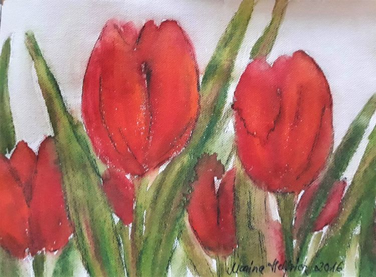 Pflanzen, Tulpen, Rot, Blumen, Aquarell